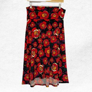 Large LuLaRoe Red Rose Floral Knee Length Skirt